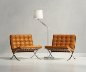 Caramel colored leather Barcelona Chairs